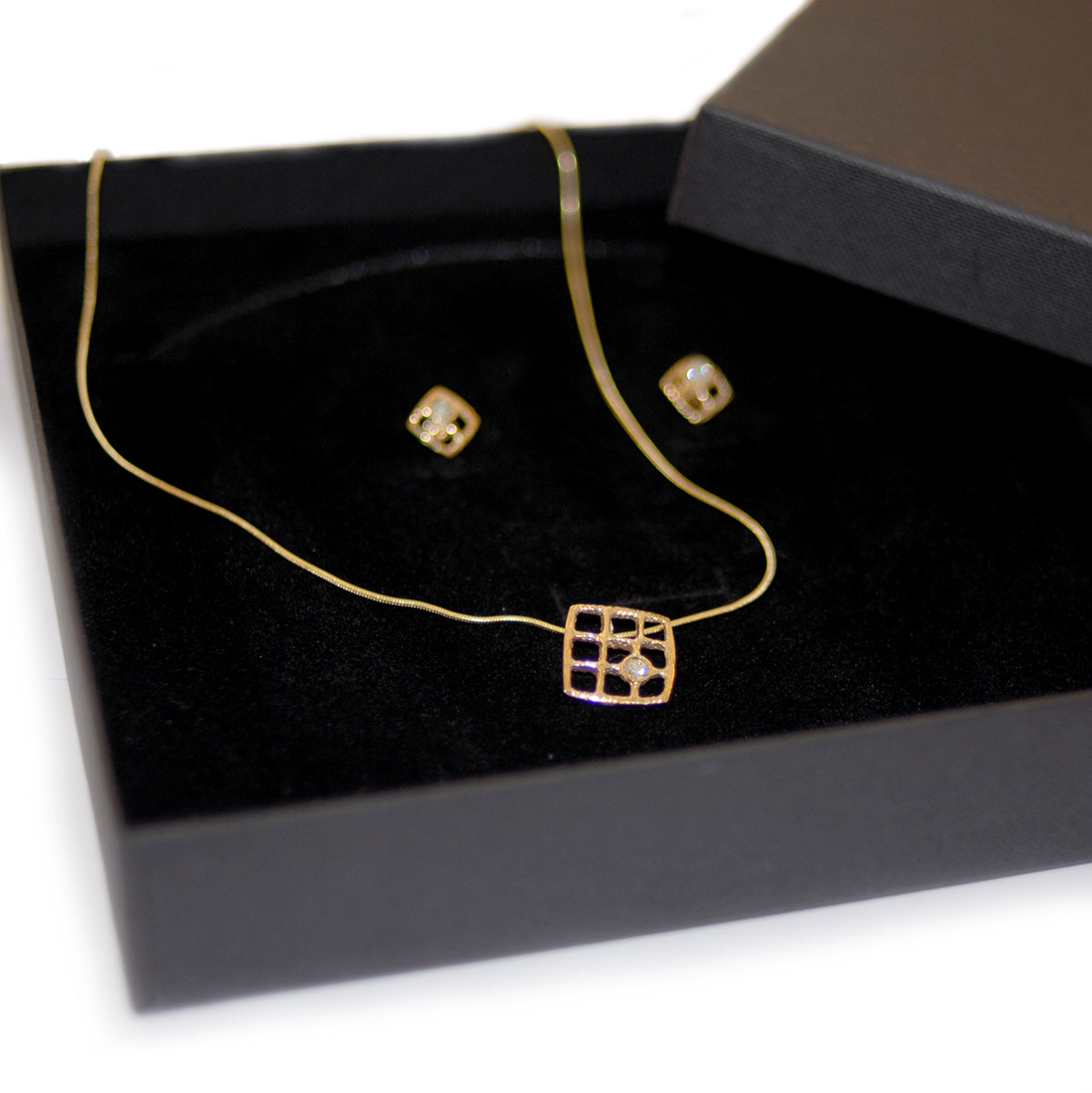 Architectural Diamond Earring and Necklace Set