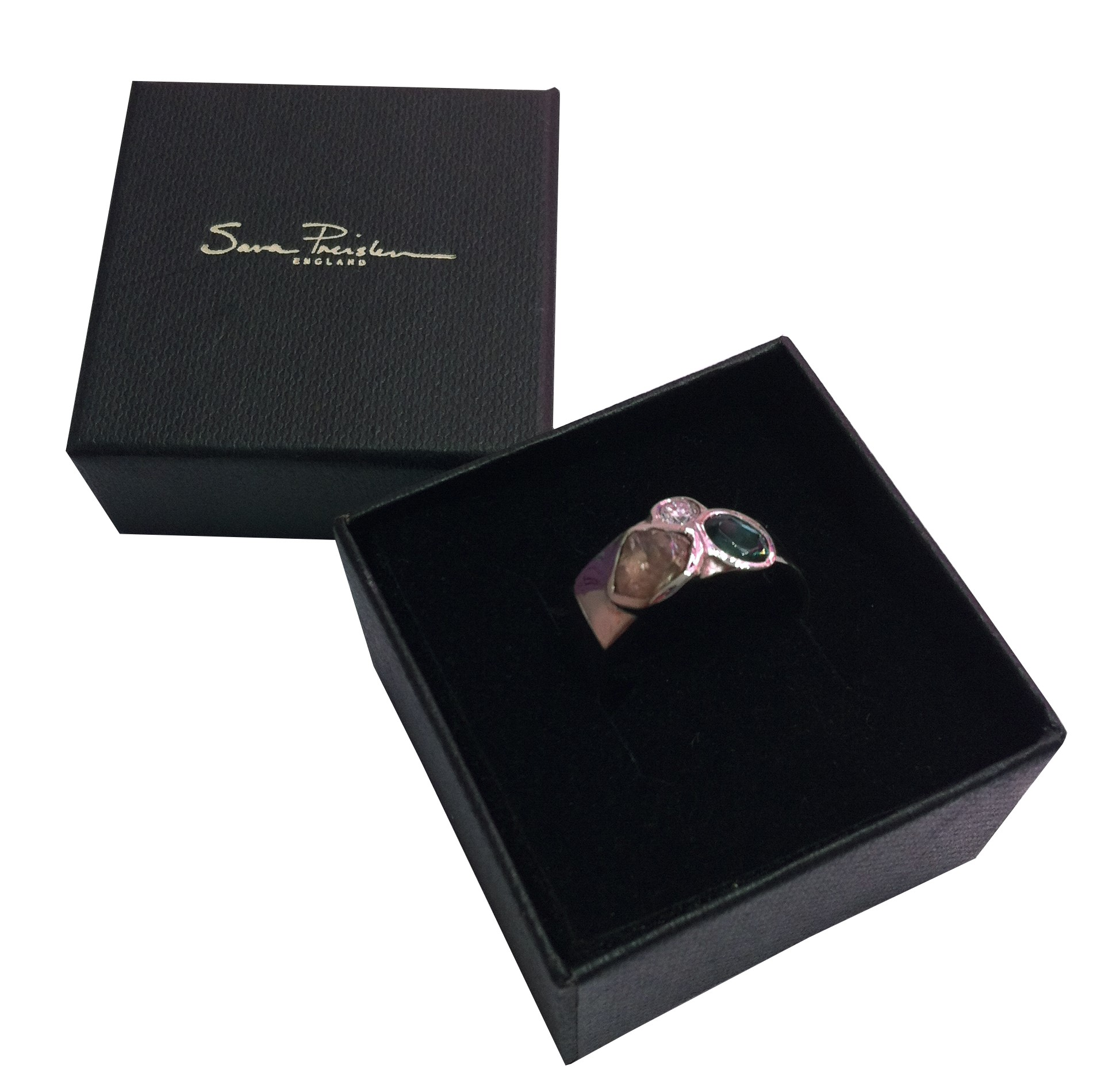 Tourmaline, Rough and Polished Diamond Composition Ring